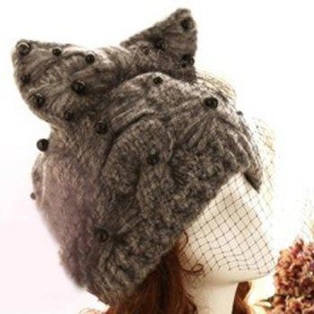 Chic Bowknot Veil Bead Decorated Women's Knitted Hat -  AS THE PICTURE