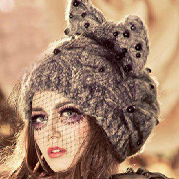 Chic Bowknot Veil Bead Decorated Women's Knitted Hat - AS THE PICTURE AS THE PICTURE