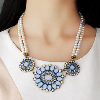 Noble Solid Color Beads Embellished Flower Pendant Women's Necklace