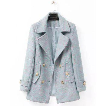 Color Mixed Worsted Long Sleeve Lapel Neck Double-Breasted Fashionable Women's Coat