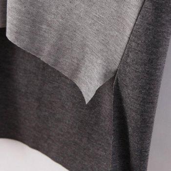 Simple Color Block V-Neck Irregular 3/4 Sleeve T-Shirt For Women - GRAY GRAY