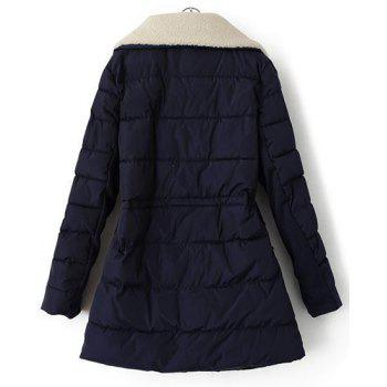 Fashionable Drawstring Design Turn-Down Collar Worsted Splicing Long Sleeve Coat For Women - PURPLISH BLUE L