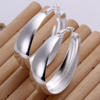 Pair of Oval Polished Earrings -  4.7CM*4.0CM