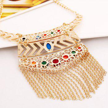 Characteristic Special Design Tassels Decorated Geometric Pendant Necklace For Women - GOLDEN