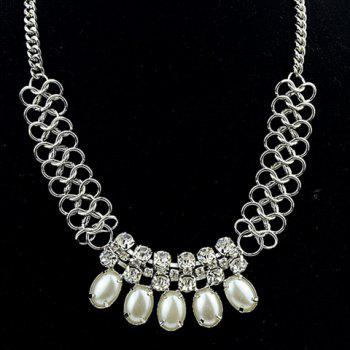 Attractive Faux Pearl and Rhinestone Embellished Women's Necklace