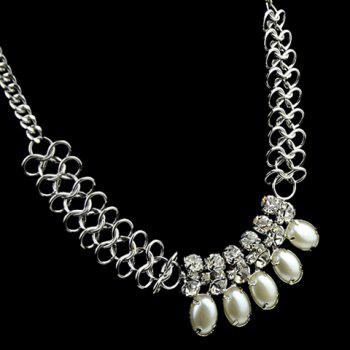 Attractive Faux Pearl and Rhinestone Embellished Women's Necklace - AS THE PICTURE