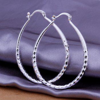 Pair of Ellipse Prismatic Engraved Earrings -
