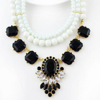 Charming Beads and Faux Gemstone Embellished Pendant Necklace For Women