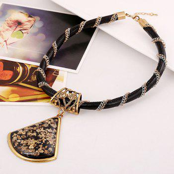 Stylish Delicate Women's Faux Gem Triangle Pendant Necklace - AS THE PICTURE