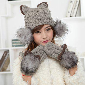 Chic Cat Shape and Downy Ball Decorated Hemp Flower Pattern Women's Knitted Hat - AS THE PICTURE AS THE PICTURE