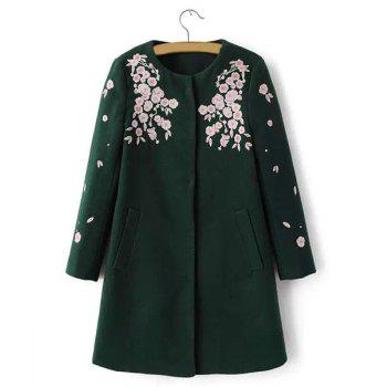 Floral Embroidery Round Collar Long Sleeve Worsted Trendy Style Women's Coat