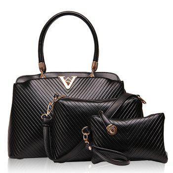 Fashionable Checked and PU Leather Design Tote Bag For Women