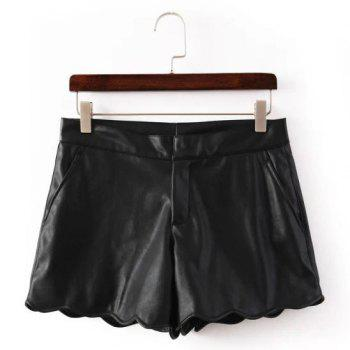 Faux Leather Solid Color Wavy Hem Wide Leg Trendy Style Women's Shorts