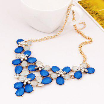 Characteristic Faux Gem Embellished Flowers Pendant Necklace For Women
