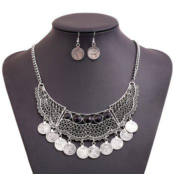 Round Shape Pendant Faux Gem Necklace and Earrings - SILVER