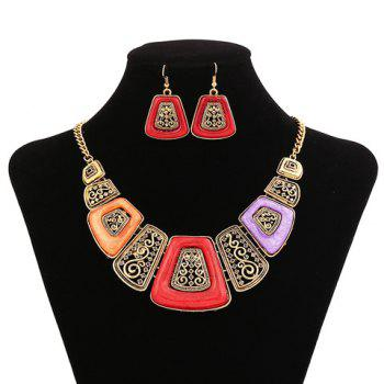 Sparkling Resin Embellished Geometric Shape Women's Necklace and A Pair of Earrings