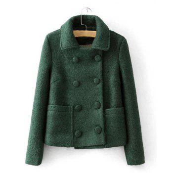 Solid Color Turn-Down Collar Long Sleeve Double-Breasted Worsted Stylish Women's Coat