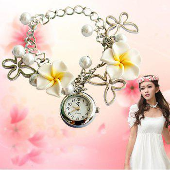 Quartz Chain Watch Beads Flower Round Dial for Women