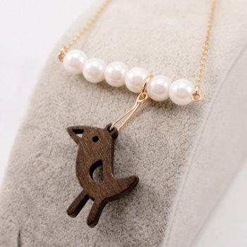 Charming Faux Pearl Embellished Bird Pendant Women's Sweater Chain Necklace - GOLDEN