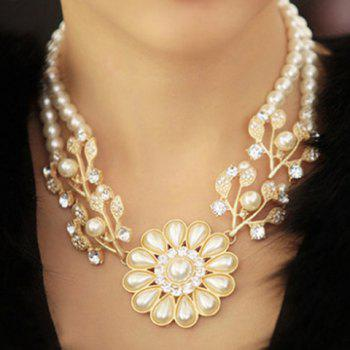 Faux Pearl Flower Shape Necklace