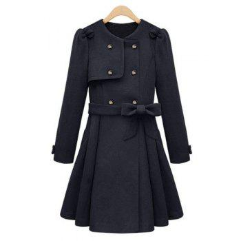 Elegant Solid Color Round Collar Double-Breasted Long Sleeve Worsted Coat with Belt For Women