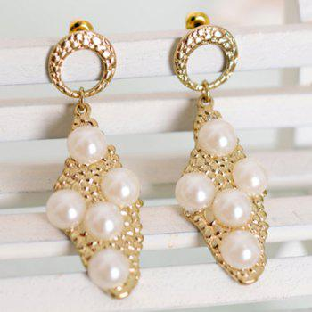 Pair of Gorgeous Faux Pearl Embellished Women's Earrings - GOLDEN