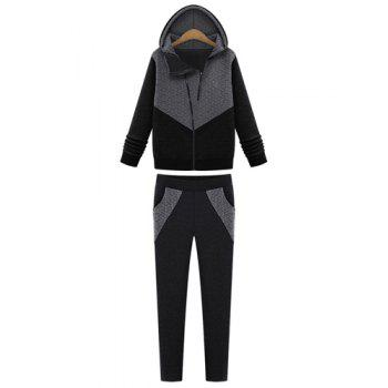 Modern Style Color Block Hooded Long Sleeve Hoodie and Pants Twinset For Women