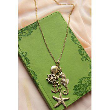 Stylish Retro Women's Starfish Anchor Design Sweater Chain Necklace - GOLDEN GOLDEN