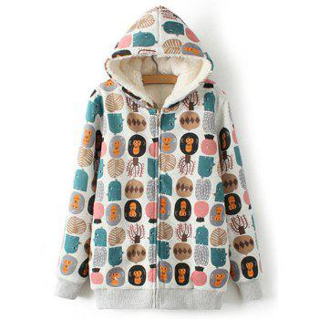 Monkey and Tree Print Lamb Wool Sweet Style Hooded Long Sleeve Coat For Women