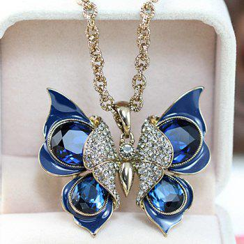 Chic Fashion Women's Rhinestone Butterfly Design Sweater Chain Necklace -  COLOR ASSORTED