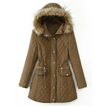 Argyle Faux Fur Draw Cord Fashionable Hooded Long Sleeve Coat For Women