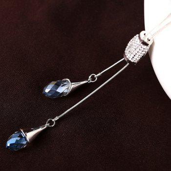 Dazzling Rhinestone Embellished Special Shape Pendant Women's Sweater Chain Necklace - SILVER