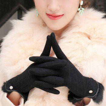 Pair of Chic Flower and Faux Fur Decorated Solid Color Women's Gloves
