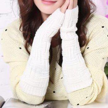 Pair of Woolen Yarn Crochet Mittens For Women