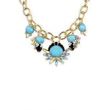 Colorful Faux Gem Decorated Floral Pattern Pendant Necklace - TURQUOISE