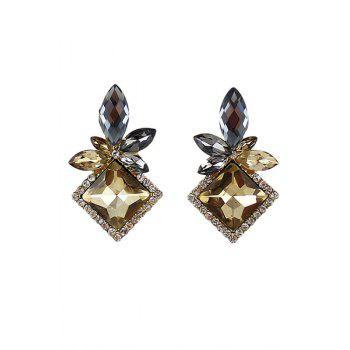 Pair of Faux Gem Decorated Floral Earrings