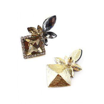 Pair of Faux Gem Decorated Floral Earrings - GOLDEN