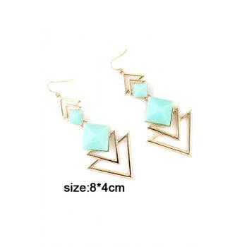 Pair of Faux Gem Decorated Triangle Pendant Earrings - BLUE