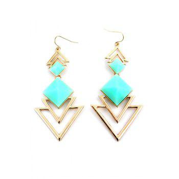 Pair of Faux Gem Decorated Triangle Pendant Earrings