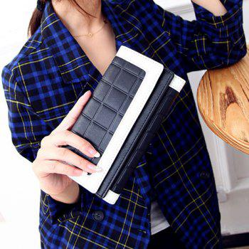 Fashion Plaid and Color Block Design Clutch Wallet For Women - BLACK