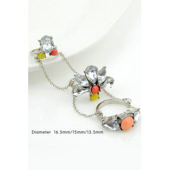 3PCS Connected Flower Pattern Rings - SILVER ONE SIZE