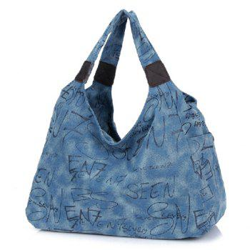 Casual Style Canvas and Letter Print Design Women's Shoulder Bag