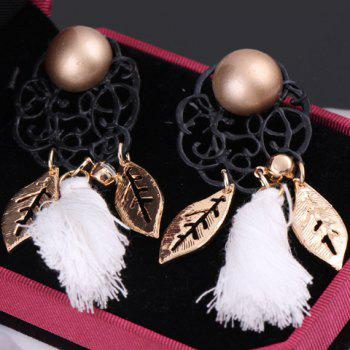 Pair of Faux Pearl Leaf Tassel Drop Earrings - COLOR ASSORTED