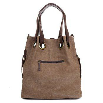 Casual Style Canvas and Splice Design Shoulder Bag For Women - BROWN
