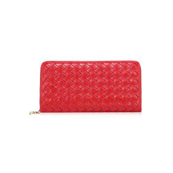 Trendy Checked and Weaving Design Women's Wallet -  RED