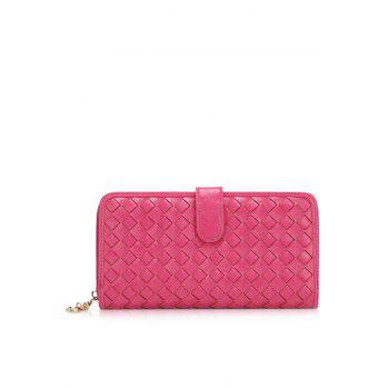 Trendy Checked and Weaving Design Women's Wallet - ROSE MADDER ROSE MADDER