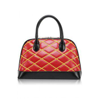 Trendy Color Block and Checked Design Women's Tote Bag - RED RED