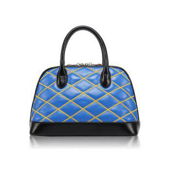 Trendy Color Block and Checked Design Women's Tote Bag - BLUE BLUE