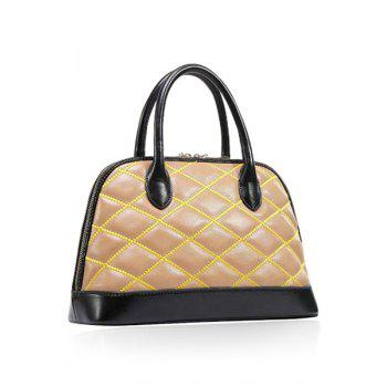 Trendy Color Block and Checked Design Women's Tote Bag -  APRICOT