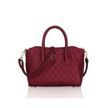 Stylish Solid Color and Checked Design Women's Tote Bag - RED RED